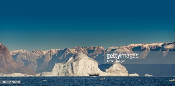 Schooner by Icebergs, Scoresbysund, Greenland
