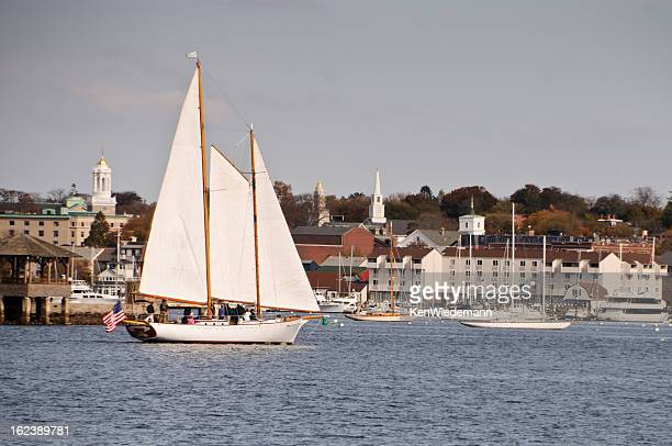 schooner in newport harbor - newport rhode island stock pictures, royalty-free photos & images