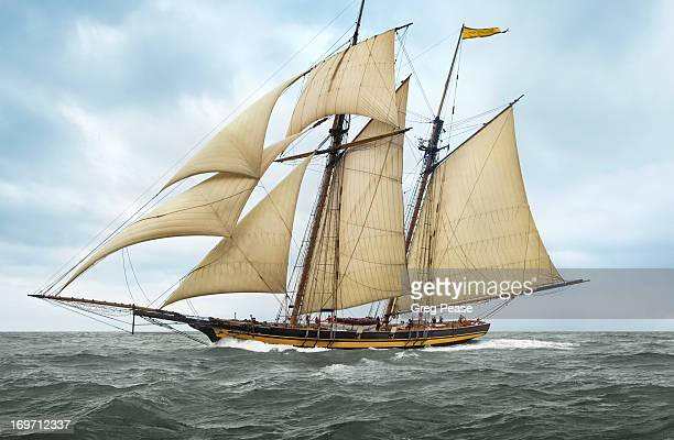 schooner pride of baltimore ii - pirate ship stock photos and pictures