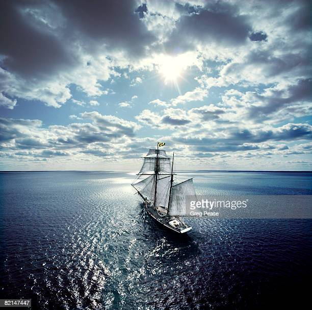 schooner sailing in the chesapeake bay - pirate ship stock photos and pictures