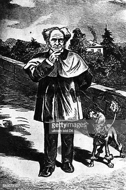 Schopenhauer Arthur *2202178821091860Philosoph D mit seinem Pudel Holzschnitt von Johann Jacob Ettling 18601888 in der 'Frankfurter Latern' erschienen
