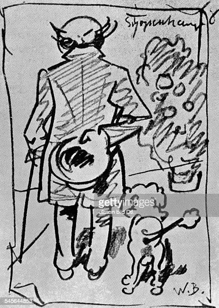 Schopenhauer Arthur *2202178821091860Philosoph D mit seinem Pudel Zeichnung von Wilhelm Busch undatiert