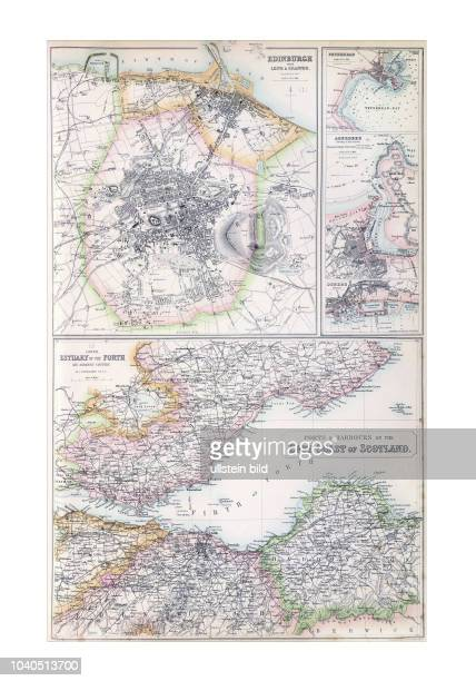 SchottlandOstHaefen 1872 Mit Plänen von Edinburgh Aberdeen Dunbdee ua Aus The Royal Illustrated Atlas of Modern Geography by A Fullarton London...