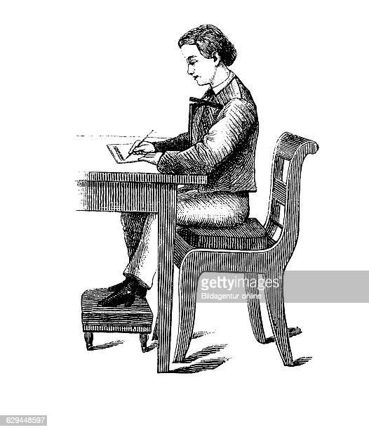 Schreber'sche geradehalter a support for sitting straight while writing school desk with assisted seating historical engraving circa 1885