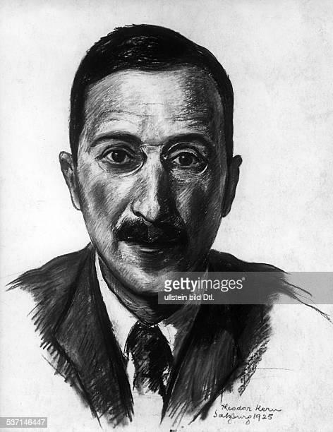 Schriftsteller Österreich Zeichnung von Theodor Kern 1925