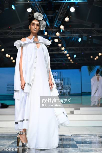 Schulen Fernandes for Wendell Rodricks' Zentangle collection at Lotus Make-Up India Fashion Week's Spring Summer 2020 Finale presented by the FDCI on...