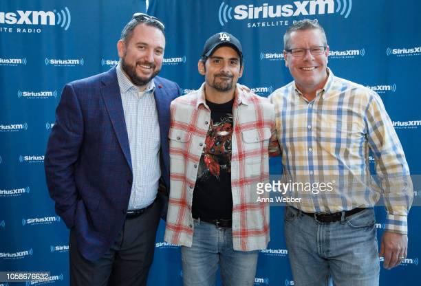 JR Schumann Brad Paisley and Trapper John at SiriusXM Nashville at SiriusXM Studios on November 7 2018 in Nashville Tennessee