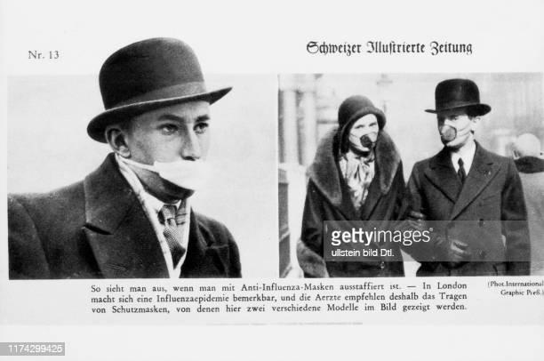 Schutzmasken gegen Spanische Grippe in Grossbritannien 1918