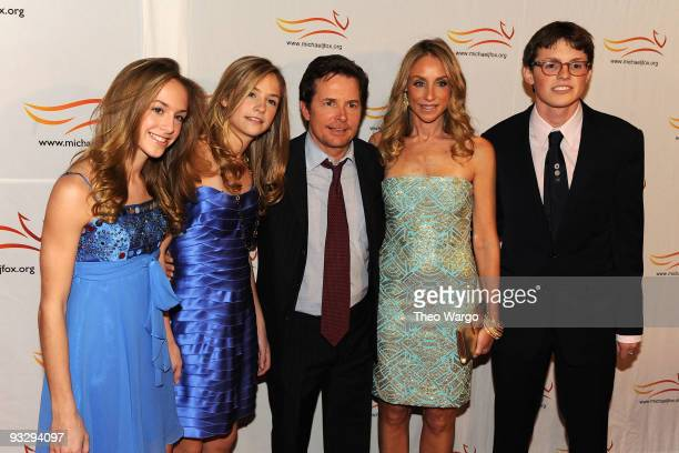 Schuyler Fox Aquinnah Fox Michael J Fox Tracy Pollan and Sam Fox attend the A Funny Thing Happened on the Way to Cure Parkinson's benefit at The...
