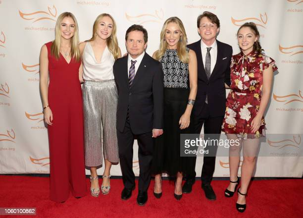 Schuyler Frances Fox Aquinnah Kathleen Fox Michael J Fox Tracy Pollan Sam Michael Fox and Esme Annabelle Fox on the red carpet of A Funny Thing...