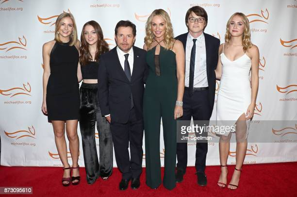 Schuyler Frances Fox Esmé Annabelle Fox Michael J Fox Tracy Pollan Sam Michael Fox and Aquinnah Kathleen Fox attend the 2017 A Funny Thing Happened...