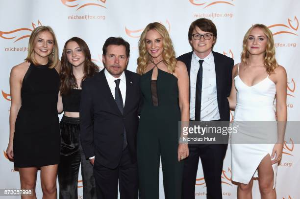 Schuyler Frances Fox Esmé Annabelle Fox Sam Michael Fox Michael J Fox Tracy Pollan and Aquinnah Kathleen Fox on the red carpet of A Funny Thing...