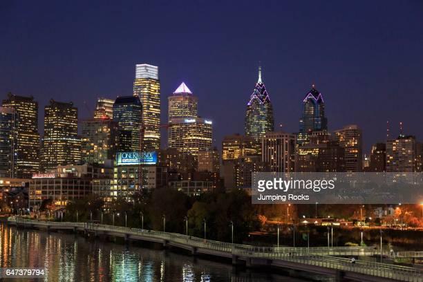 Schuylkill Banks Boardwalk at night Schuylkill River Park Philadelphia Pennsylvania USA