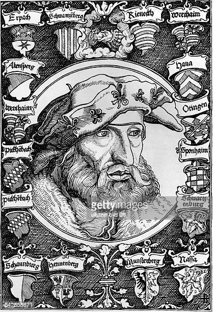 Schwarzenberg Johann Freiherr von14631528fränkischer RitterLiterat Rechtsreformer Holzschnitt um 1530 nach Zeichnung von A DürerSchwarzenberg umgeben...