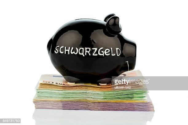 Schwarzes Sparschwein auf Geldscheinen Symbolfoto für Schwarzgeld Steuerbetrug und Geldwäsche