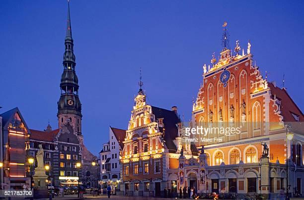 Schwarzhaupter Haus and St. Peter's Church in Riga