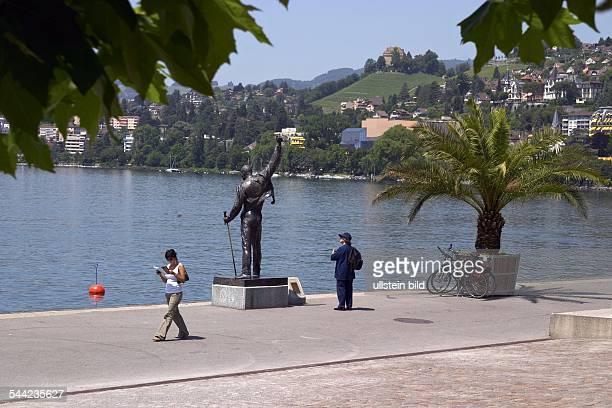 Skulptur des Saengers Freddie Mercury an der Promenade am Genfer See