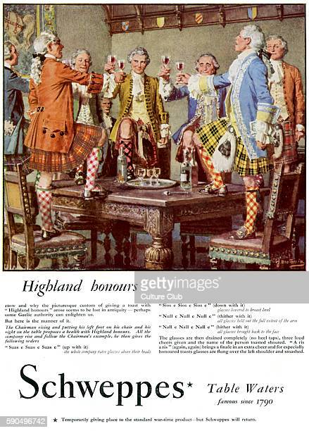 Schweppes advertisment 'Highland honours' Group of men in 18th century traditional Scottish dress giving a toast 1940s
