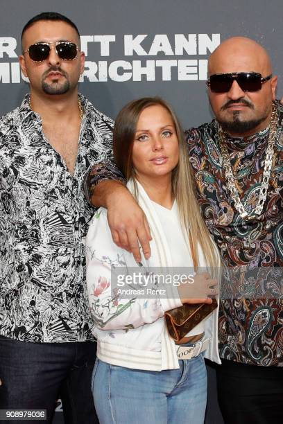 SSIO Schwesta Ewa and Xatar attend the 'Nur Gott kann mich richten' premiere at CineStar Metropolis on January 22 2018 in Frankfurt am Main Germany