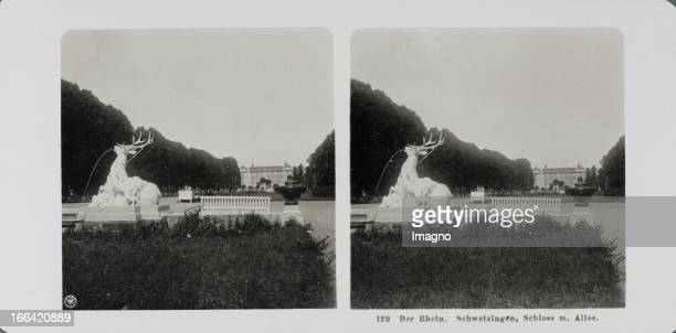 Schwetzingen Main axis of the palace garden Castle in the background In the foreground a part of one of the two pools with deer stag sculpture About...