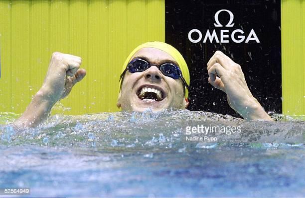 Schwimmen: Arena Weltcup 2005, Berlin; Finals / Finallaeufe; 200m Ruecken; Sieg und Europarekord fuer Markus ROGAN / AUT 23.01.05.