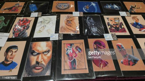 Sci fi artwork is sold at a merchandise stall on the second day of the Scarborough Sci-Fi weekend held at the seafront Spa Complex on April 07, 2019...