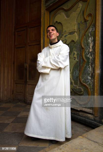 Scicli (Ragusa Province), Sicily: Portrait Young Priest in White