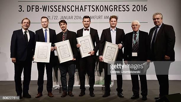 Science Award winner Florian Schultz Oliver Faude Christian Strieder and Michael Keiner pose with Rainer Koch Senior Vice President Deutscher...
