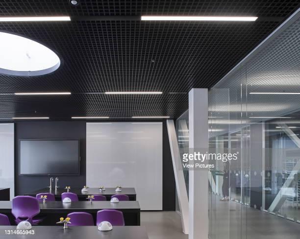 Science classroom with glazing. Brighton College, Brighton, United Kingdom. Architect: OMA, 2020.