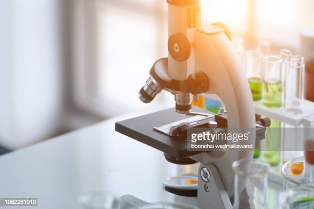 science concept. laboratory research and development. scientific glassware for chemical experiment. - microscope stock pictures, royalty-free photos & images
