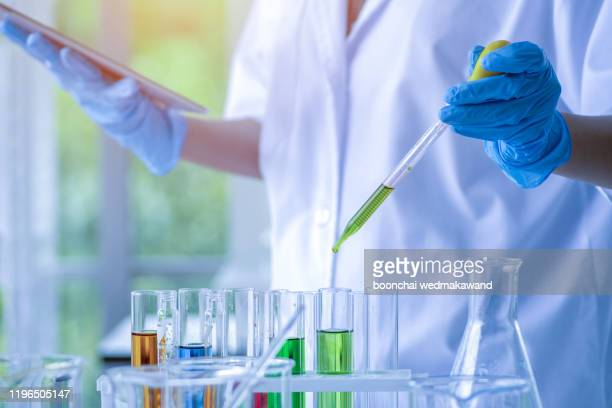 science concept. laboratory research and development. scientific glassware for chemical experiment. - 化学薬品 ストックフォトと画像