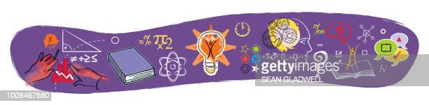 science education illustration icons - school icon stock photos and pictures
