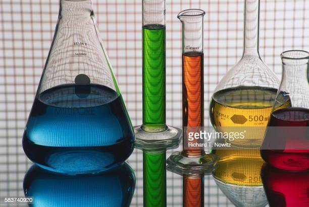 Science Equipment with Colored Liquid