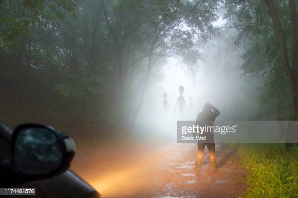 a science fiction concept of a man looking at aliens coming out the mist on a foggy, spooky forest road in the evening. highlighted by car headlights. - extraterrestre fotografías e imágenes de stock