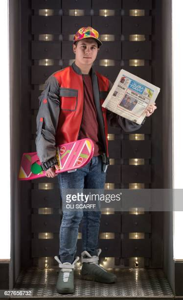 A science fiction fan dressed as a Marty McFly from Back to the Future attends the 'For the Love of Scifi' convention in Manchester north west...