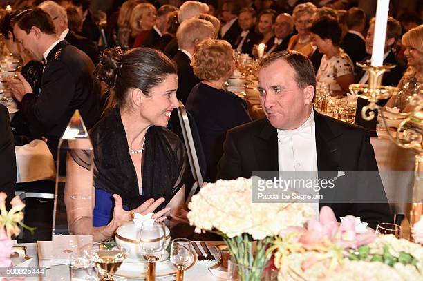 Science Minister of Canada Kirsty Duncan and Prime Minister of Sweden Stefan Lofven attend the Nobel Prize Banquet 2015 at City Hall on December 10...