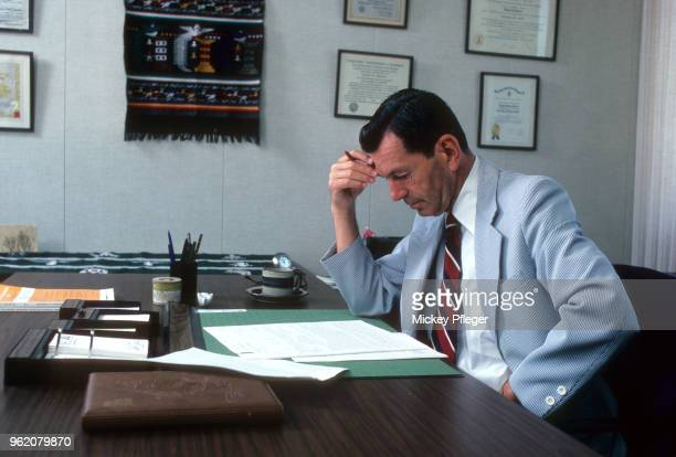 Portrait of environmentalist and acid rain specialist Dr Ralph Perhac of Electric Power Research Institute posing during photo shoot in his office...