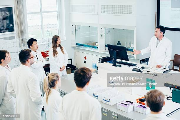 Science students at lecture in classroom