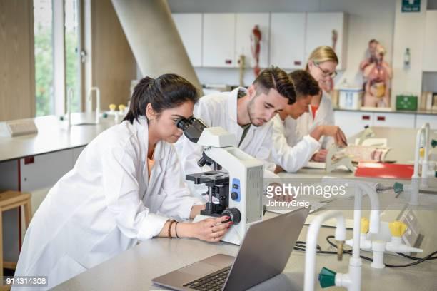 estudantes de ciência em laboratório usando microscópios, portátil na bancada - edifício de educação - fotografias e filmes do acervo
