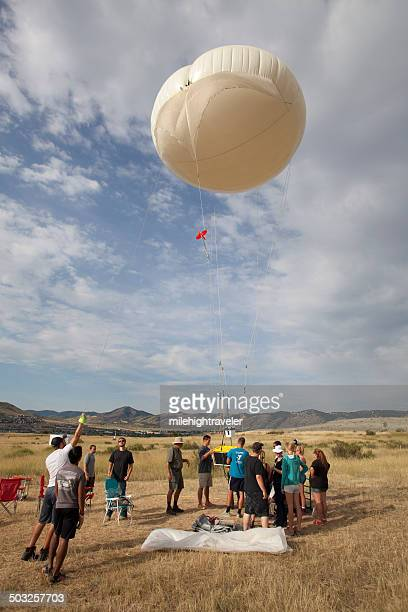 Science team prepares weather balloon Golden Colorado
