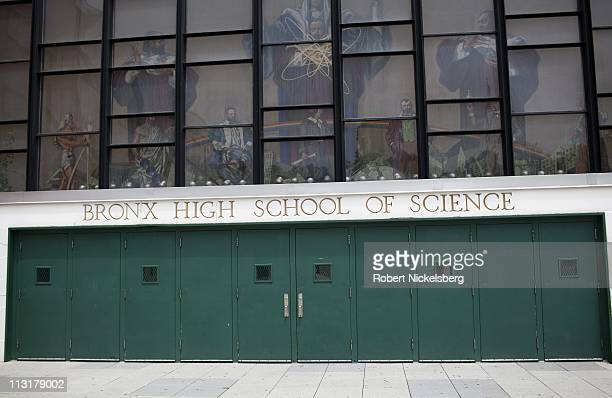 A science theme tile mosaic is displayed at the entrance to the Bronx High School of Science June 14 2010 in Bronx New York The prestigious school...