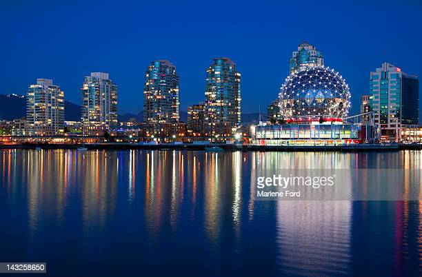 Science World at night in Vancouver, Canada