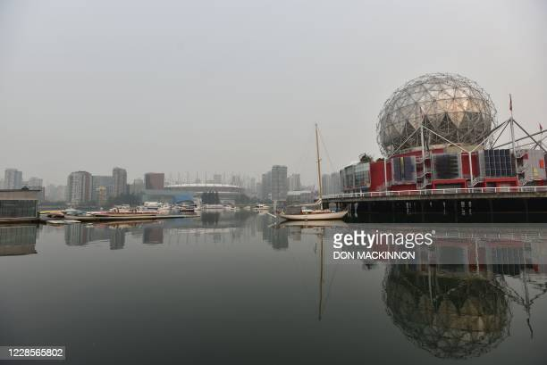 Science World British Columbia Place Stadium and the Vancouver skyline are seen from False Creek in Vancouver Canada September 17 2020 South western...