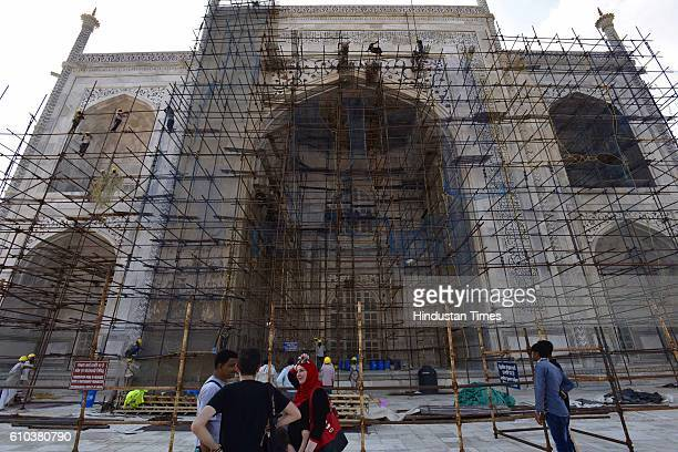 Scientific conservation work in progress at Taj Mahal by Archaeological Survey of India on September 24 2016 in Agra India The Taj Mahal was built by...