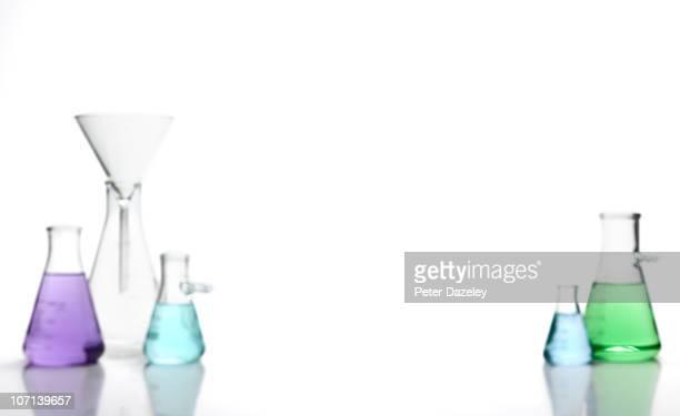 Scientific flasks with copy space landscape
