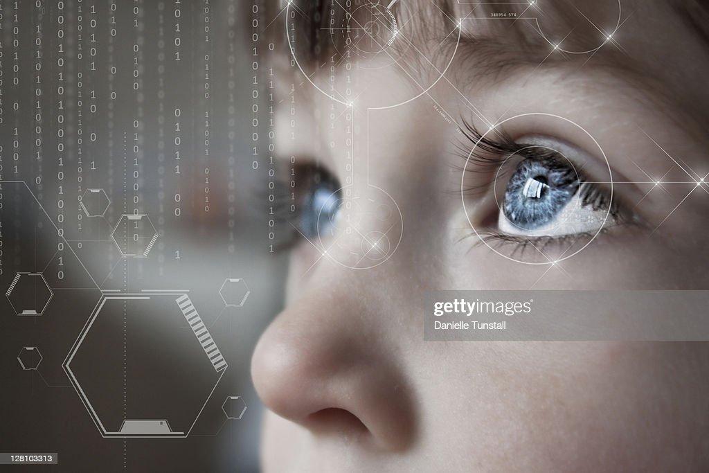 Scientific portrait of boy : Stock Photo