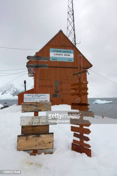 Scientific Station Almirante Brown signs Paradise Bay Antarctica Danco Coast Antarctic Peninsula
