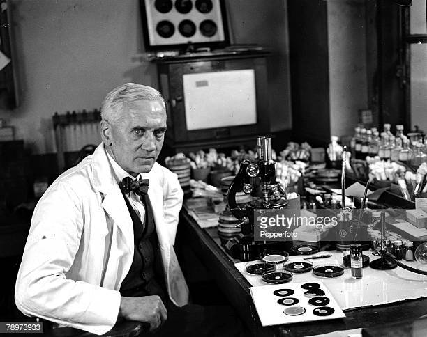 Scientist Alexander Fleming discovorer of penicillin pictured in his laboratory using his scientific equipment 1943