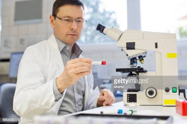 Wissenschaftler analysieren Reagenzglas im Labor