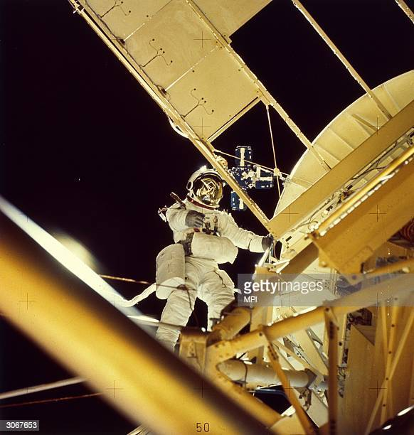 Scientist and astronaut Dr Owen K Garriott carries out a record 7hour spacewalk during his 59day stay in the Skylab space station